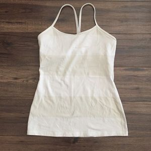 Lululemon Tan and White Stripe Tank Top Size 8